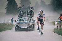 Daryl Impey (ZAF/Mitchelton-Scott) over the gravel roads up the Montée du plateau des Glières (HC/1390m)<br /> <br /> Stage 10: Annecy > Le Grand-Bornand (159km)<br /> <br /> 105th Tour de France 2018<br /> ©kramon