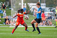 Kansas City, MO - Sunday October 1, 2017: Nichelle Prince, Yael Averbuch during a regular season National Women's Soccer League (NWSL) match between FC Kansas City and the Houston Dash at Children's Mercy Victory Field.