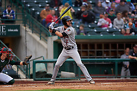 Quad Cities River Bandits designated hitter David Hensley (2) during a Midwest League game against the Fort Wayne TinCaps at Parkview Field on May 3, 2019 in Fort Wayne, Indiana. Quad Cities defeated Fort Wayne 4-3. (Zachary Lucy/Four Seam Images)