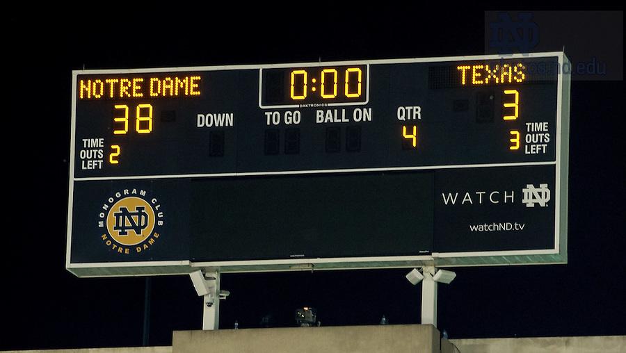 Sept. 5, 2015; Scoreboard after Notre Dame defeated Texas 38-3. (Photo by Matt Cashore)
