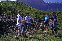 Mauka Makai Eco Tour group explores heiau on Oahu