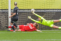 Stephanie Van Gils (27) of Eendracht Aalst scores 1-0 and Eendracht Aalst can celebrate during a female soccer game between Eendracht Aalst and Standard Femina de Liege on the 11 th matchday of the 2020 - 2021 season of Belgian Scooore Womens Super League , Saturday 23 of January 2021  in Aalst , Belgium . PHOTO SPORTPIX.BE | SPP | STIJN AUDOOREN