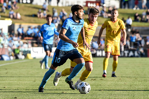 18th April 2021; Leichardt Oval, Sydney, New South Wales, Australia; A League Football, Sydney Football Club versus Adelaide United; Milos Ninkovic of Sydney looks for options as Ryan Strain of Adelaide United covers