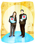 Couple standing with laptops