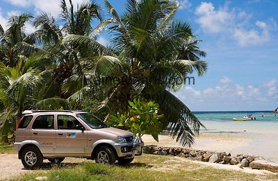 Seychelles, Island Mahe, Anse l'Islette: Jeep, rented car, beach, palm trees<br />