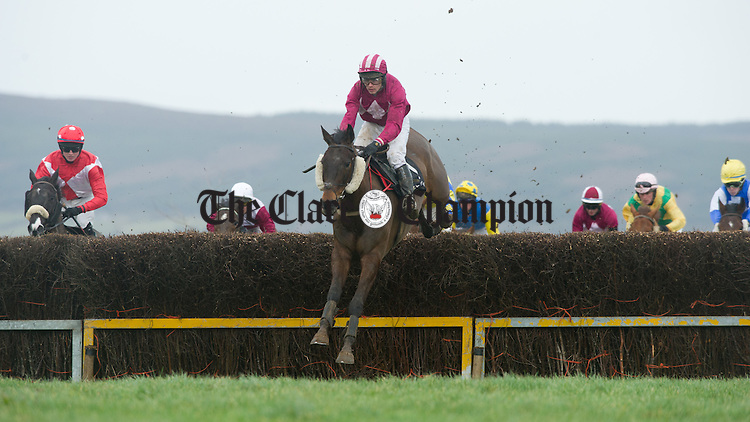 Action from the East Clare Harriers Hunt Point To Point at Garranboy, Killaloe. Photograph by John Kelly.