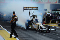 Sept. 28, 2012; Madison, IL, USA: NHRA top fuel dragster driver Tony Schumacher during qualifying for the Midwest Nationals at Gateway Motorsports Park. Mandatory Credit: Mark J. Rebilas-