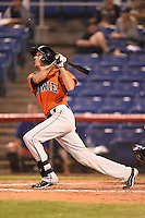 Bowie Baysox outfielder Glynn Davis (10) at bat during a game against the Binghamton Mets on August 3, 2014 at NYSEG Stadium in Binghamton, New York.  Bowie defeated Binghamton 8-2.  (Mike Janes/Four Seam Images)