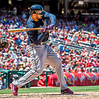9 July 2017: Atlanta Braves outfielder Matt Kemp in action against the Washington Nationals at Nationals Park in Washington, DC. The Nationals defeated the Braves to split their 4-game series. Mandatory Credit: Ed Wolfstein Photo *** RAW (NEF) Image File Available ***