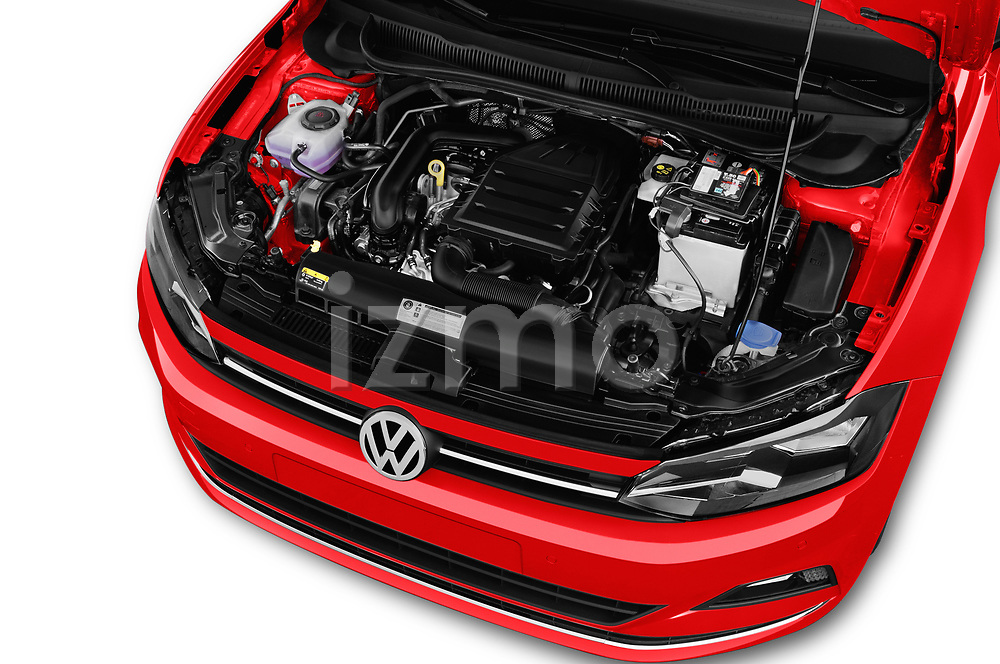 Car stock 2018 Volkswagen Polo High Line 5 Door Hatchback engine high angle detail view
