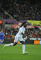 SWANSEA, WALES - JANUARY 17:   of  during the Barclays Premier League match between Swansea City and Chelsea at Liberty Stadium on January 17, 2015 in Swansea, Wales. Swansea's Bafetimbi Gomis
