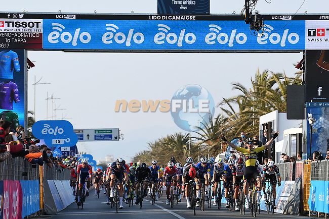 Wout Van Aert (BEL) Team Jumbo-Visma wins Stage 1 of Tirreno-Adriatico Eolo 2021, running 156km from Lido di Camaiore to Lido di Camaiore, Italy. 10th March 2021. <br />