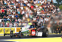 Aug. 1, 2014; Kent, WA, USA; NHRA top fuel dragster driver Terry McMillen during qualifying for the Northwest Nationals at Pacific Raceways. Mandatory Credit: Mark J. Rebilas-