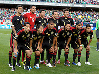 The Mexico starting XI.  Mexico defeated Costa Rica 4-1 at the 2011 CONCACAF Gold Cup at Soldier Field in Chicago, IL on June 12, 2011.