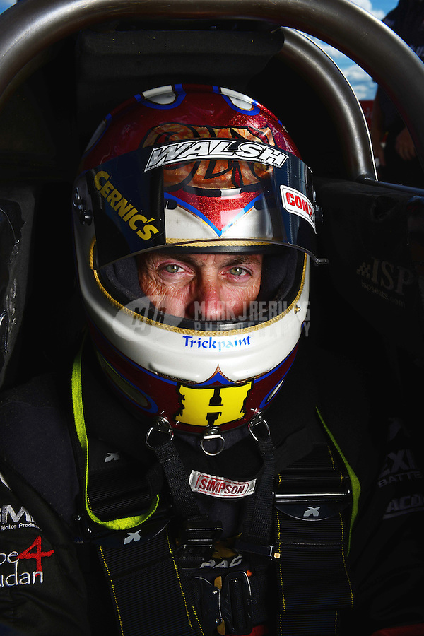 Sept 8, 2012; Clermont, IN, USA: NHRA top fuel dragster driver Clay Millican during qualifying for the US Nationals at Lucas Oil Raceway. Mandatory Credit: Mark J. Rebilas-