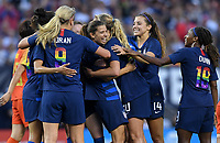 Cleveland, Ohio - Tuesday June 12, 2018: Tobin Heath and her USWNT celebrate her goal during an international friendly match between the women's national teams of the United States (USA) and China PR (CHN) at FirstEnergy Stadium.