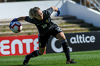 20200307  Lagos , Portugal : Swedish goalkeeper Jennifer Falk (12) pictured during the female football game between the national teams of Sweden and Denmark on the second matchday of the Algarve Cup 2020 , a prestigious friendly womensoccer tournament in Portugal , on saturday 7 th March 2020 in Lagos , Portugal . PHOTO SPORTPIX.BE | STIJN AUDOOREN
