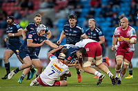 4th June 2021; AJ Bell Stadium, Salford, Lancashire, England; English Premiership Rugby, Sale Sharks versus Harlequins; Cameron Neild of Sale Sharks is tackled by Luke Wallace of Harlequins