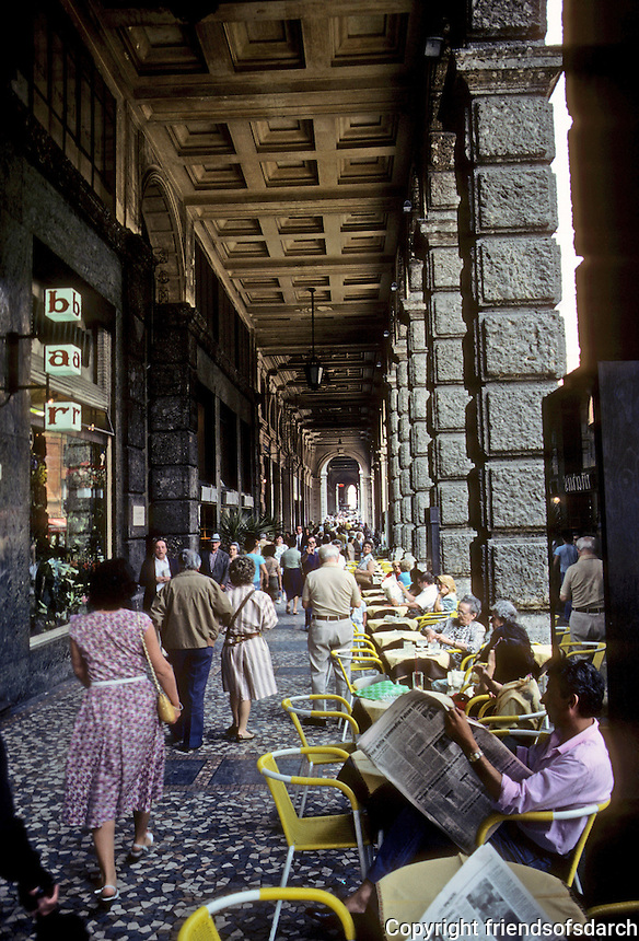 Italy: Bologna--Arcadeo Sidewalk, Cafe. Photo '83.
