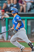 Connor Joe (34) of the Oklahoma City Dodgers at bat against the Salt Lake Bees at Smith's Ballpark on July 31, 2019 in Salt Lake City, Utah. The Dodgers defeated the Bees 5-3. (Stephen Smith/Four Seam Images)