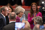 © Joel Goodman - 07973 332324 . 05/10/2016 . Birmingham , UK . THERESA MAY and husband PHILIP BALL leave the conference hall through the crowd after Theresa May delivers the leader's speech at the close of the conference . The fourth and final day of the Conservative Party Conference at the International Convention Centre in Birmingham . Photo credit : Joel Goodman