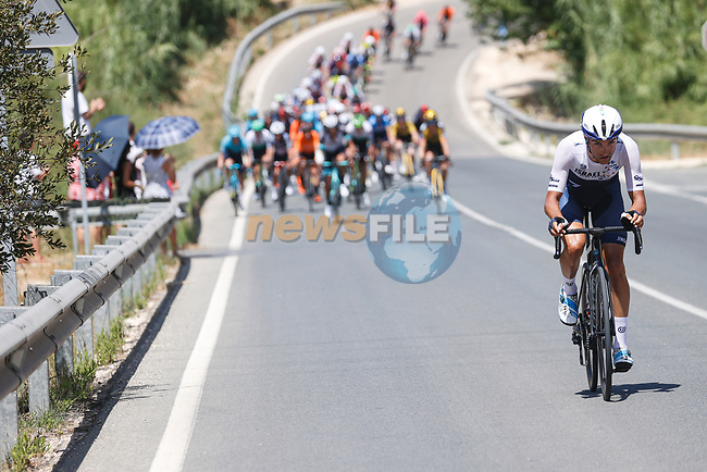 Action from the start of Stage 7 of La Vuelta d'Espana 2021, running 152km from Gandia to Balcon de Alicante, Spain. 20th August 2021.     <br /> Picture: Luis Angel Gomez/Photogomezsport | Cyclefile<br /> <br /> All photos usage must carry mandatory copyright credit (© Cyclefile | Luis Angel Gomez/Photogomezsport)