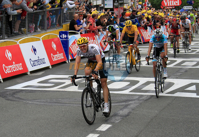 Edvald Boasson Hagen (NOR) Sky Procycling finishes in 2nd place with Peter Velits (SVK) Omega Pharma-Quick Step 3rd and Yellow Jersey race leader Fabian Cancellara (SUI) Radioshack-Nissan 4th cross the finish line of Stage 3 of the 99th edition of the Tour de France 2012, running 197km from Orchies to Boulogne-sur-Mere, France. 3rd July 2012.<br /> (Photo by Eoin Clarke/NEWSFILE)