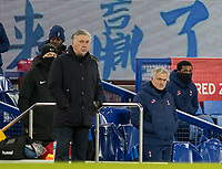 10th February 2021, Goodison Park, Liverpool, England;  Tottenham Hotspurs manager Jose Mourinho 2nd R and Evertons manager Carlo Ancelotti L, Front are seen during the FA Cup 5th round match between Everton FC and Tottenham Hotspur FC at Goodison Park