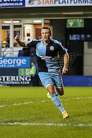 Garry Thompson of Wycombe Wanderers celebrates scoring the opening goal against Luton Town during the Sky Bet League 2 match between Luton Town and Wycombe Wanderers at Kenilworth Road, Luton, England on 26 December 2015. Photo by David Horn.