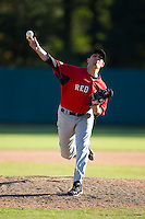 Trevor Newman (26) of Mcdowell High School in Marion, North Carolina playing for the Boston Red Sox scout team at the South Atlantic Border Battle at Doak Field on November 2, 2014.  (Brian Westerholt/Four Seam Images)