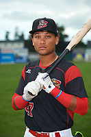 Batavia Muckdogs outfielder Ricardo Cespedes (47) poses for a photo before a game against the Williamsport Crosscutters on August 3, 2017 at Dwyer Stadium in Batavia, New York.  Williamsport defeated Batavia 2-1.  (Mike Janes/Four Seam Images)