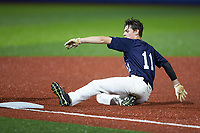 Luke Holland (11) of Hough High School in Cornelius, NC slides into third base during the Atlantic Coast Prospect Showcase hosted by Perfect Game at Truist Point on August 22, 2020 in High Point, NC. (Brian Westerholt/Four Seam Images)
