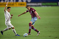 CARSON, CA - SEPTEMBER 19: Cristian Pavon #10 of the Los Angeles Galaxy battles with Sam Vines #13 of the Colorado Rapids for a ball during a game between Colorado Rapids and Los Angeles Galaxy at Dignity Heath Sports Park on September 19, 2020 in Carson, California.