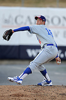 Chattanooga Lookouts starting pitcher Zach Lee #18 warms up in the bullpen before a game against the Tennessee Smokies at Smokies Park on April 10, 2013 in Kodak, Tennessee. The Lookouts won 6-2. (Tony Farlow/Four Seam Images).
