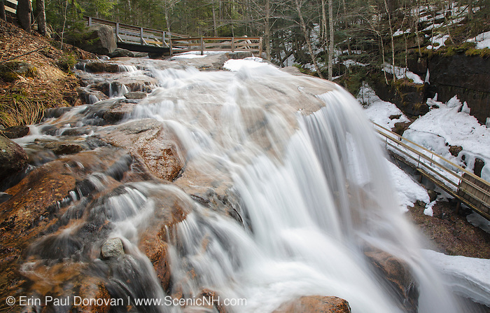 Franconia Notch State Park - Avalanche Falls in Lincoln, New Hampshire USA during the spring months. This waterfall is located in the Flume Gorge Scenic Area