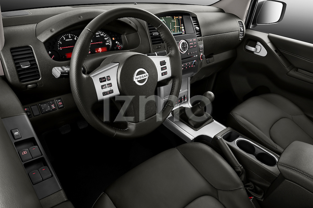 High angle dashboard view of a 2010 Nissan Navara LE 4 door Stock Photo