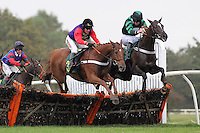 Race winner Close Touch ridden by Barry Geraghty jumps alongside Chain Of Events ridden by Jack Doyle (R) in the Michael Scotney Memorial Novices Hurdle - Horse Racing at Fakenham Racecourse, Norfolk - 26/10/12 - MANDATORY CREDIT: Gavin Ellis/TGSPHOTO - Self billing applies where appropriate - 0845 094 6026 - contact@tgsphoto.co.uk - NO UNPAID USE