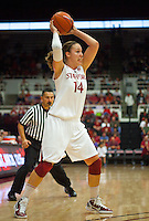 STANFORD, CA - December 28, 2010: Kayla Pedersen of the Stanford Cardinal women's basketball team during Stanford's game against the Xavier Musketeers at Maples Pavilion. Stanford won 89-52.