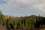 Israel, Jerusalem Mountains. A view of Mount Tzuba and Kibbutz Tzuba from Mount Eitan
