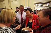 Pictured: Labour candidate for Gower constituency Tonia Antoniazzi (3rd L) is congratulated on her win after it was announced.  Friday 09 June 2017<br />