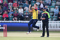 Jimmy Neesham in bowling action for Essex during Somerset vs Essex Eagles, Vitality Blast T20 Cricket at The Cooper Associates County Ground on 9th June 2021