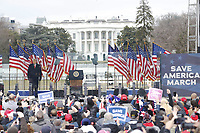 US President Donald J. Trump delivers remarks to supporters gathered to protest Congress' upcoming certification of Joe Biden as the next president on the Ellipse in Washington, DC, USA, 06 January 2021. Various groups of Trump supporters are gathering to protest as Congress prepares to meet and certify the results of the 2020 US Presidential election.<br /> CAP/MPI/RS<br /> ©RS/MPI/Capital Pictures