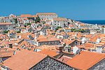 Croatia, Dubrovinik, Looking Down on Old Town Rooftops From the City Wall