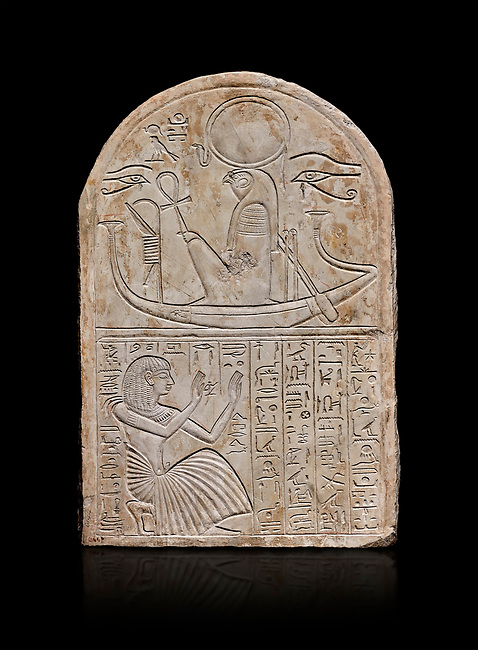 Ancient Egyptian stele dedicated to Re-Harakhty by draftsman Pay, limestone, New Kingdom, 19th Dynasty, (1292-1190 BC), Deir el-Medina, Schiaprelli cat 6144. Egyptian Museum, Turin. Black background,