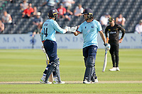Shane Snater and Aron Nijjar of Essex enjoy a useful partnership during Gloucestershire vs Essex Eagles, Royal London One-Day Cup Cricket at the Bristol County Ground on 3rd August 2021
