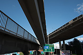 Footbridges, Brent Cross flyover and slip-roads to the M1 motorway and North Circular Road, West Hendon, London.