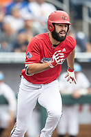 Louisville Cardinals third baseman Alex Binelas (13) runs to first base during Game 7 of the NCAA College World Series against the Auburn Tigers on June 18, 2019 at TD Ameritrade Park in Omaha, Nebraska. Louisville defeated Auburn 5-3. (Andrew Woolley/Four Seam Images)