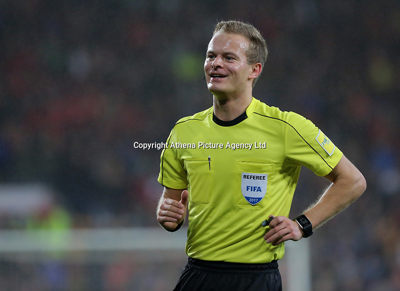Referee Bart Vertenten during the international friendly soccer match between Wales and Panama at Cardiff City Stadium, Cardiff, Wales, UK. Tuesday 14 November 2017.