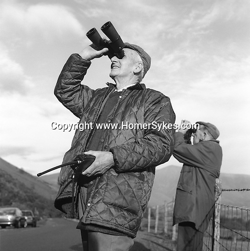 The Blencathra Foxhounds. Hunt supporters follow the hounds from their vehicles as they stream across the mountainous terrain. Near Braithwaite, Cumbria...