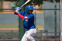 Chicago Cubs shortstop Luis Vazquez (1) at bat during an Extended Spring Training game against the Los Angeles Angels at Sloan Park on April 14, 2018 in Mesa, Arizona. (Zachary Lucy/Four Seam Images)